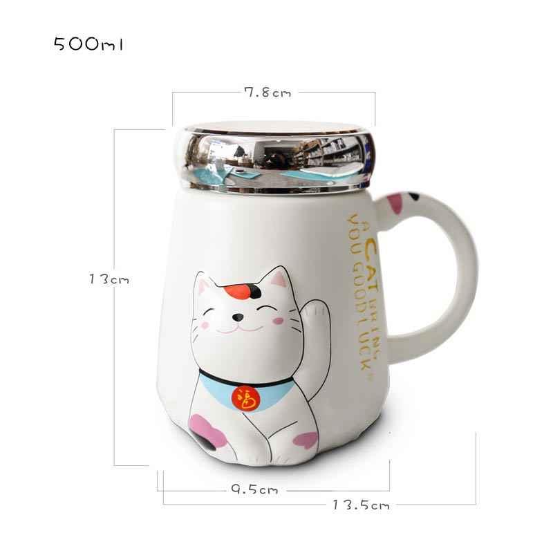 500 мл термостойкая чашка с мультяшным котом, цветная мультяшная чашка с крышкой, керамическая кружка с котенком, молоком, кофе, детские чашки, офисные Летние подарки
