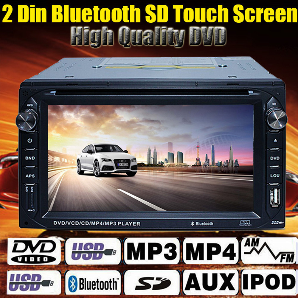 Car GPS 2 Din DVD Player Touch Stereo Audio Headunit In Dash Video + Bluetooth MP3/MP4 FM USB SD Multimedia AUTO 2DIN DVD player