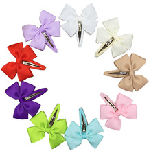 82pcs/lot Cute Hair Bow For Little Girls Solid Grosgrain Ribbon And Bows Snap Clips Kids Hair Accessories