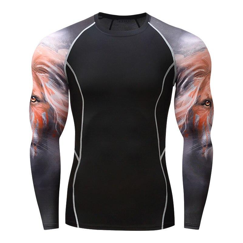 2017 Muscle Männer Compression Enge Haut Hemd Mit Langen Ärmeln Mma3d Drucke Rashguard Fitness Basisschicht Gewichtheben Männlichen Tops Tragen ZuverläSsige Leistung