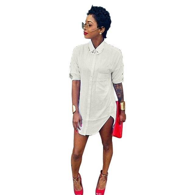2944896b456b Arc Hem Summer Vestidos Women Shirt Dress Designer Brand Turn-down Collar  Plain White Long Sleeve Loose Mini Shift Dress