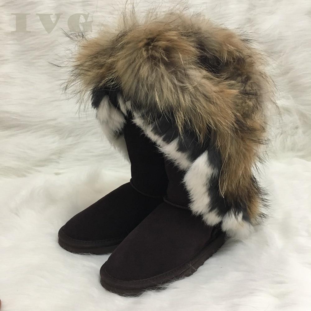 2018 Vache Chaussures Femmes 14 En Genou Cuir chocolate Plus Ivg Bottes Australien Nouveau Haute Fausse Fourrure D'hiver Us3 Neige Black chestnut La Taille tw8r7tOq