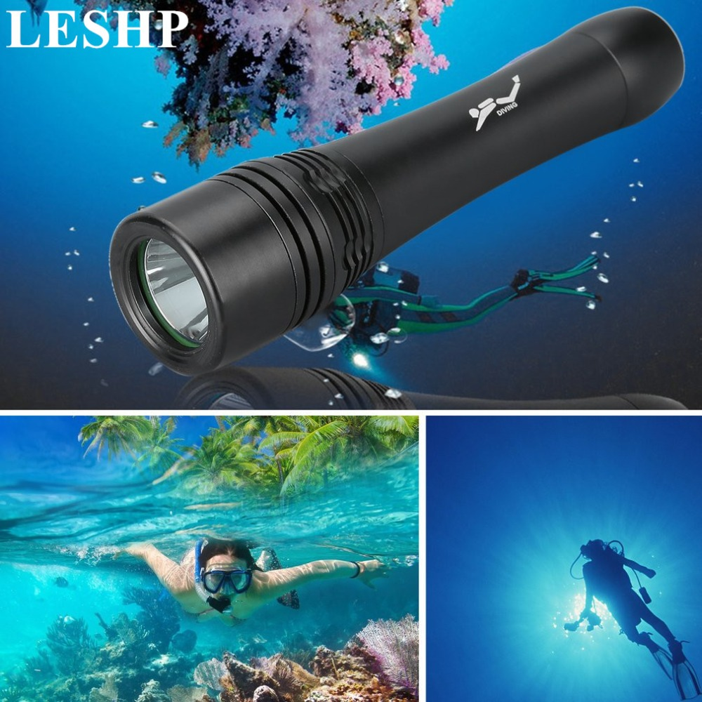 LESHP Underwater Diving Swimming Torch LED Lamp IPX7 Waterproof Outdoor Hunting Flashlight Super Bright 200m Lighting 3800lm cree xm l2 u2 led flashlight torch super bright diving torch lamp light underwater 50m professional waterproof lights