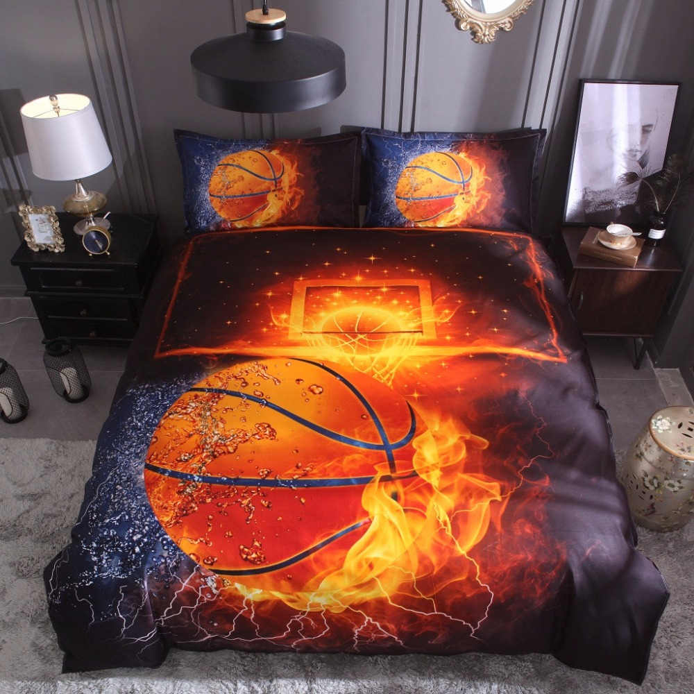 Quilt Cover Set Polyester Bed Cover Set 3d Printing Basketball