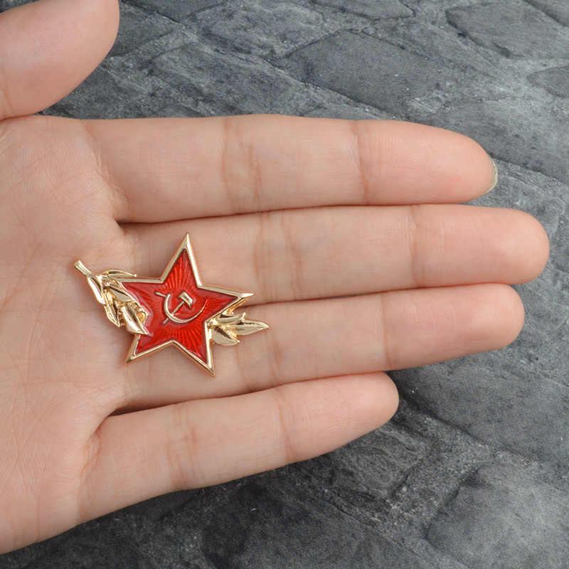 Merah Soviet Tentara Topi Lencana Bahasa Rusia Hammer Sabit Bintang Hat Pin Lencana Lencana Kerah Pin Bros untuk Rusia Pembeli Pro Kitty perhiasan
