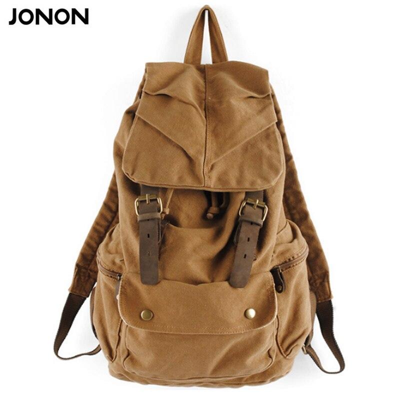 Jonon Fashion Vintage Leather military Canvas backpack Men's backpack school bag drawstring backpack women bagpack male rucksack рюкзак fashion tender 2015 z 082 canvas bag fashion college backpack women vintage backpack