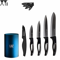 Blue 6 Durable Kitchen Knife Stand + Sharp Peeler + 6 Chef 5 Sciling 4 Utility 3 Paring Ceramic Knife XYJ Brand Hot Sale