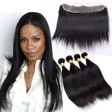 Love Human Hair Weft With Closure Cheap 4 Bundles With Closure Mink Virgin Peruvian Straight Hair Full Frontal Lace Closure 13×4