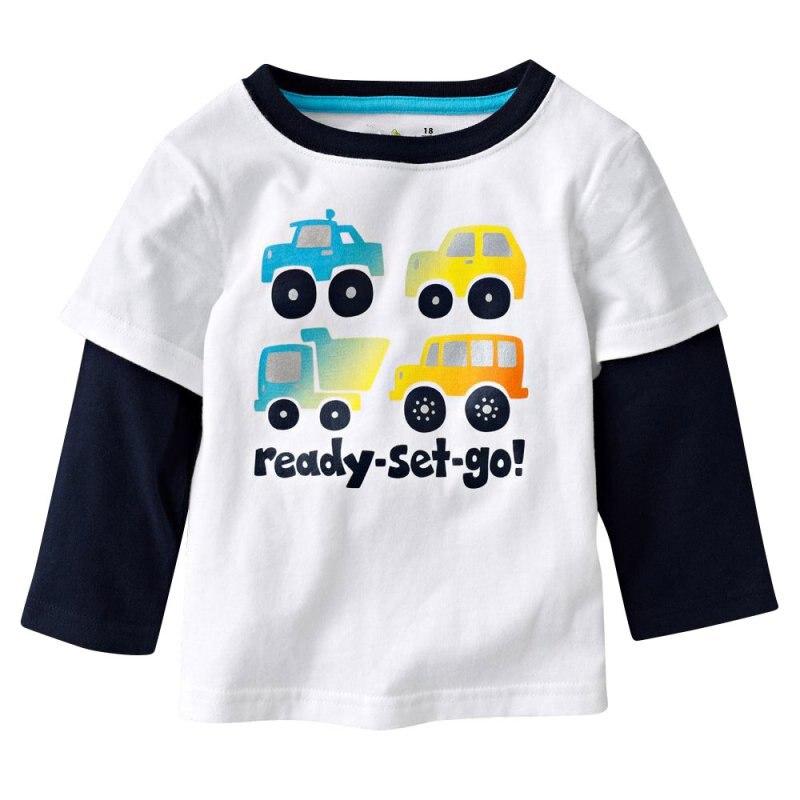Children Long Sleeve 100% Cotton Cars Trucks Stripes Boys T-shirt Kids Tees Baby Boys T-shirts