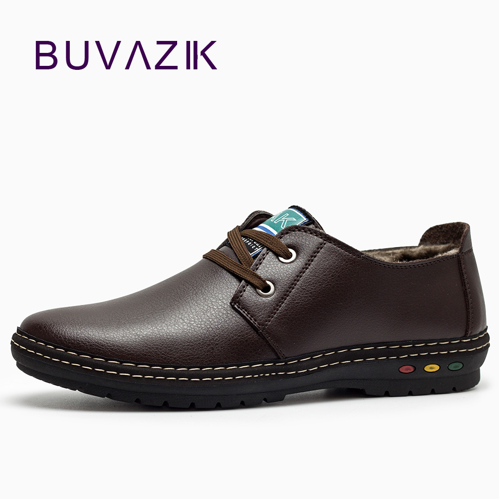 BUVAZIK Shoes Men Winter Casual Mens Shoes Genuine Leather Lace-Up Fashion Boat Shoes Short Plush Zapatos Hombre Piel Genuina plush casual suede shoes boots mens flat with winter comfortable warm men travel shoes patchwork male zapatos hombre sg083