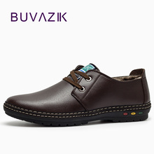 Mens Shoes Genuina Fashion Casual Winter Plush Short Lace-Up BUVAZIK Piel Zapatos Hombre