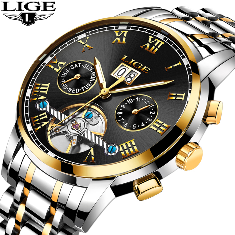 LIGE Mens Watches Top Brand Luxury Automatic Mechanical Watch Men Full Steel Business Waterproof Sport Watches Relogio Masculino unique smooth case pocket watch mechanical automatic watches with pendant chain necklace men women gift relogio de bolso