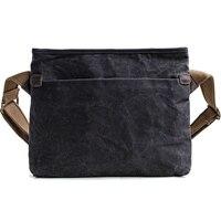 Mens Vintage Oil Wax Canvas Shoulder Bags Waterproof Adjustable Shoulder Strap Messenger Bag Casual Business Travel Handbag ZM40