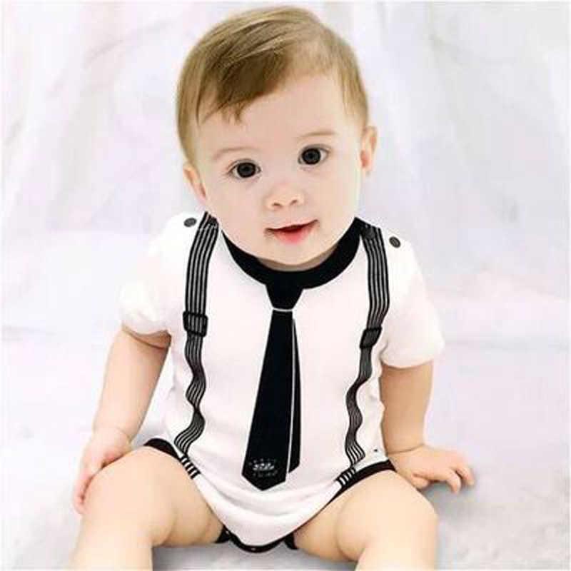 Новый летний хлопковый боди для маленьких мальчиков, черный, белый галстук, Джентри боди, 1 предмет, праздничная одежда для маленьких мальчиков, подарок для новорожденных, 3 м., 6 м., 1 т