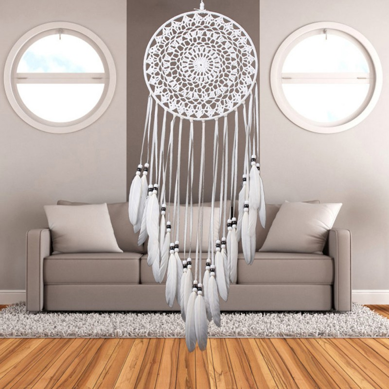 2017 Dream Catcher Home Decor White Feather Dreamcatcher Wind Chimes Indian Style Religious Mascot Car Wall Decoration