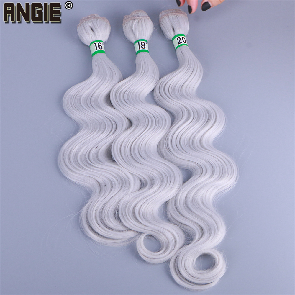 ANGIE Body Wave Hair Bundles Black Curly Weave 16 18 20 Inch 70 Gram One Piece Wavy Synthetic Hair Extensions For Women