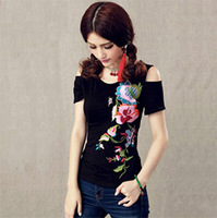 Female 2014 Spring And Summer National Embroidery Trend Flower Strapless Slim O Neck Short Sleeve T