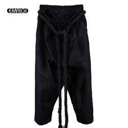 Men linen casual pant rope belt punk rock big crotch pants male ankle length trousers street.jpg 250x250
