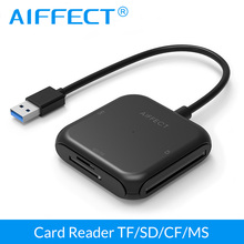AIFFECT 4 in 1 USB 3.0 Smart Card Reader Flash Multi Memory Card Reader for TF / SD / MS / CF Memory OTG Card Reader Converter цена 2017
