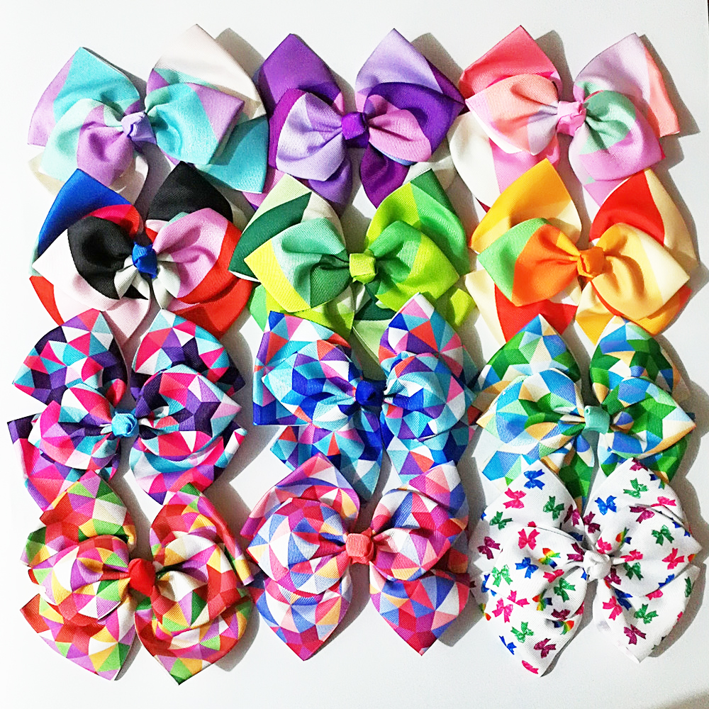 Retail 1pc jo jo 8'' grosgrain ribbon Double layer hair bows with hair clips boutique rainbows bow girls hairbow For Teens Gift