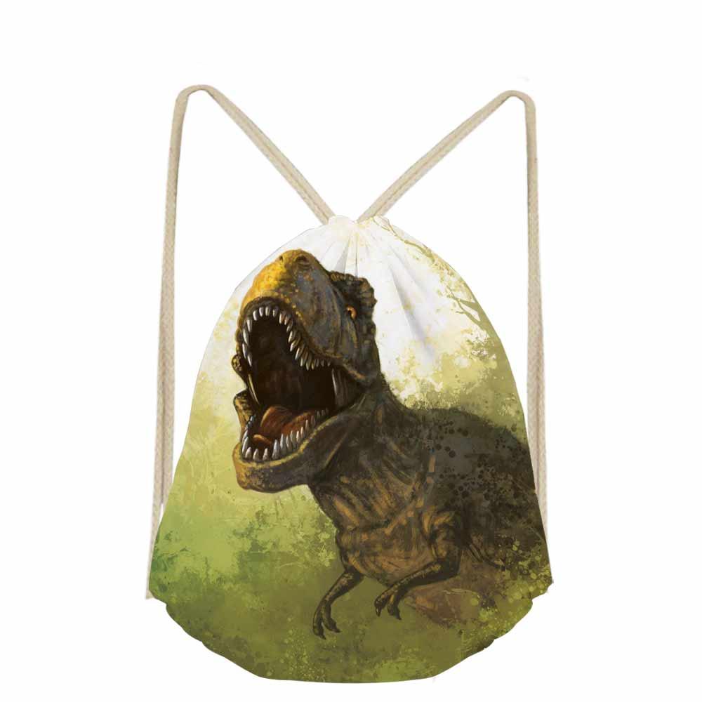 Travel Men's Backpack Jurassic Century Dinosaur & Dragon Print Drawstring Bag Casual Bagpack Boys Shoes Cloth Storage Bags