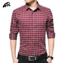 2017 New Fashion Style Plaid Regular Long Sleeve Men Shirts Casual Turn down Collar Slim Fit