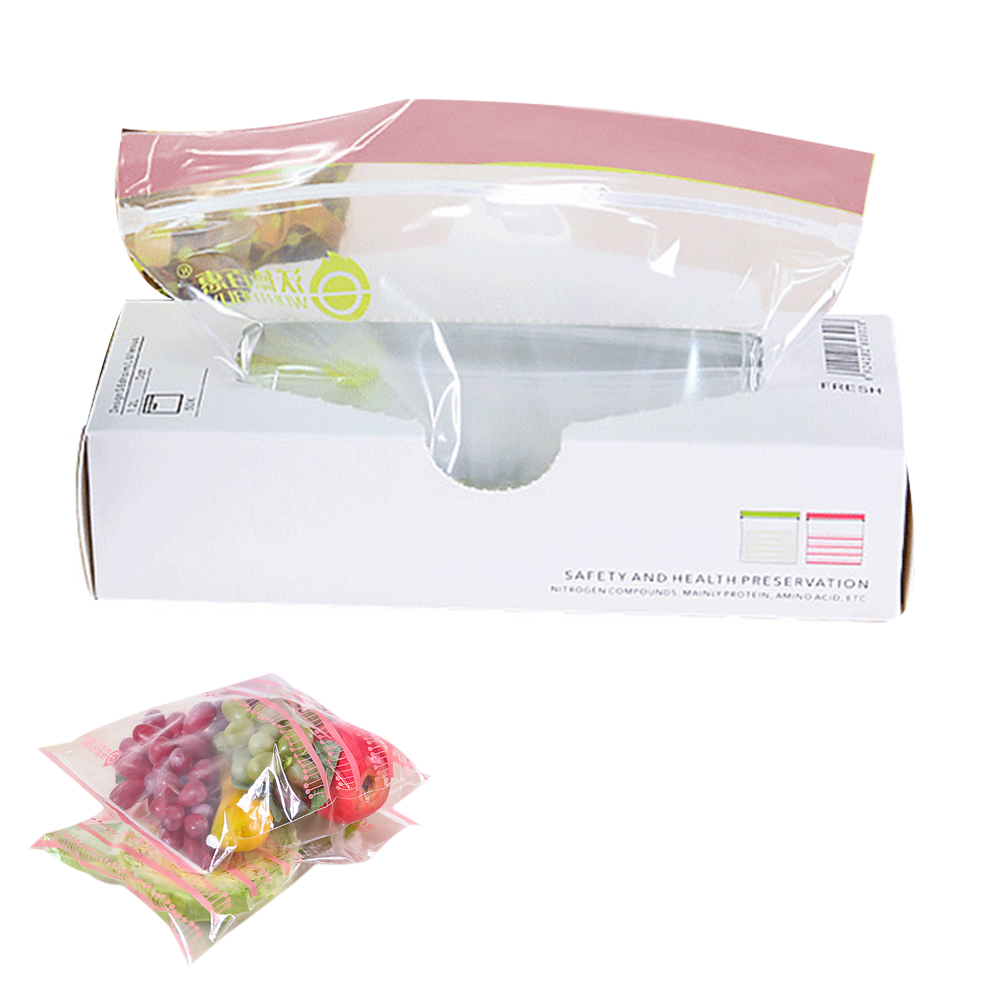 50pcs/lot New Reclosable Plastic Wrap Zipper Fresh Bags Food Storage Bags Freezer Storage Travel Snack Preservation Organizer