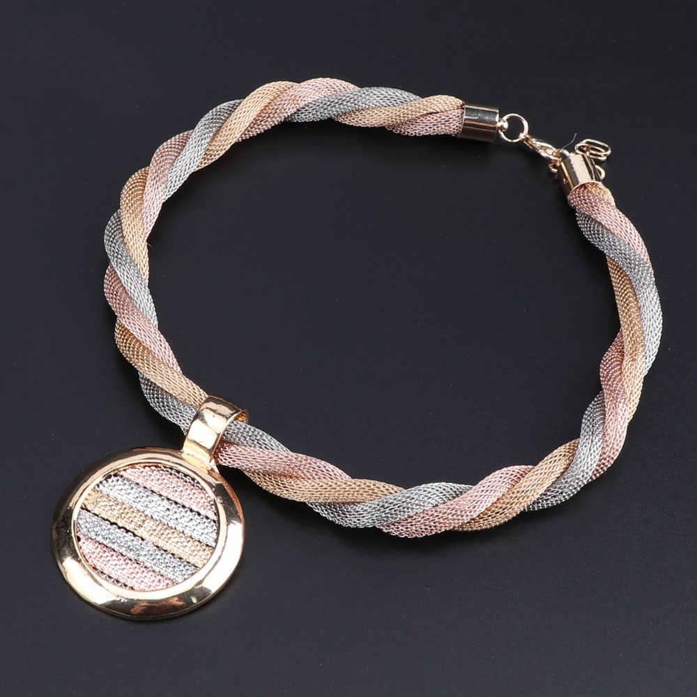 דובאי זהב צבע חתונה תליון שרשרת עגילי צמיד טבעת סטי לנשים כלות תכשיטי תלבושות קריסטל תכשיטי סטים
