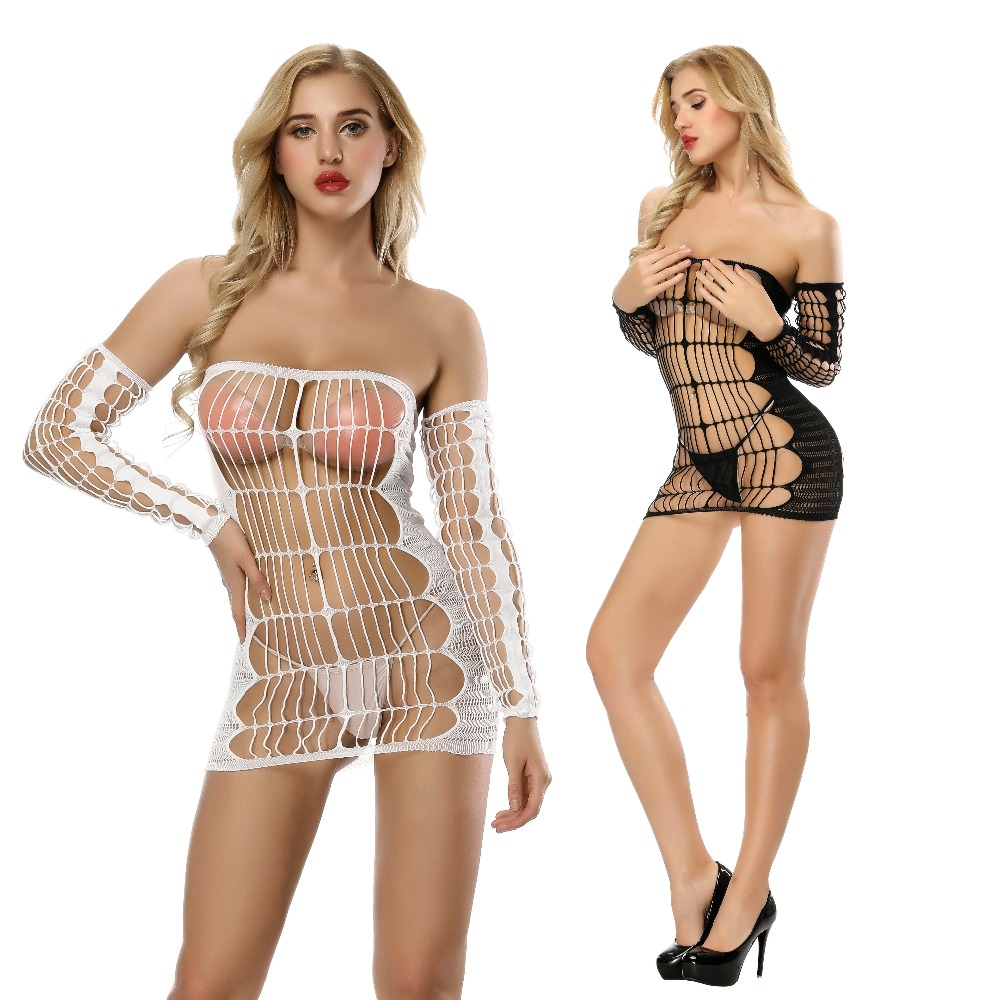 Sexy Lingerie Costumes Women's Underwear Black Lace Perspective Halter Babydoll Sexy Teddy Erotic Lingerie Hot Sexy Sleepwear