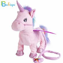 Babiqu 1 szt elektryczne Walking Unicorn Pluszowa zabawka nadziewane zwierzę zabawka elektroniczna muzyka jednorożec zabawka dla dzieci prezenty świąteczne 35cm tanie tanio Stuffed Plush Animals Bawełna PP Plush Nano Doll TV Movie Character Unisex 3 lat