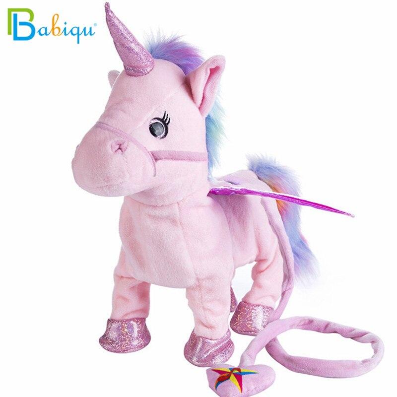Babiqu 1 unid caminar eléctrica unicornio felpa Animal relleno del juguete música electrónica unicornio juguete para niños regalos de navidad 35 cm