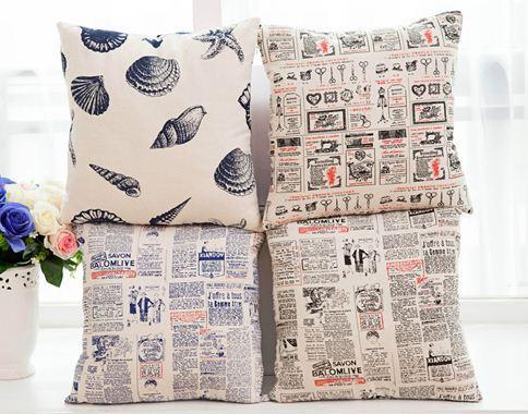 Newspaper print cushion cover cotton linen decorative letter ...