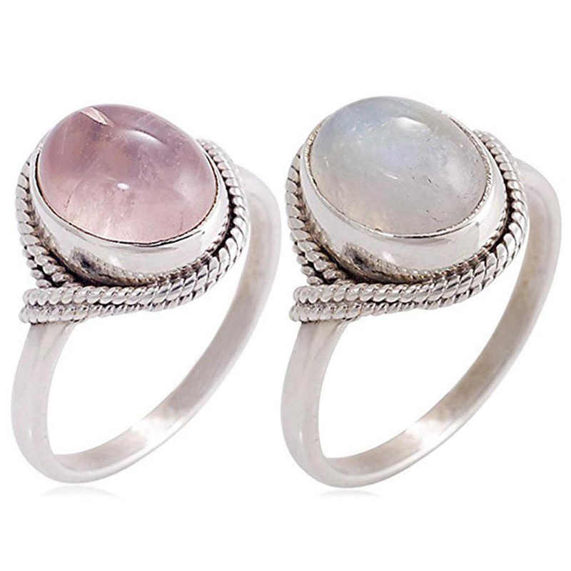 European Fashion Retro Women Engagement Ring Pink Moonstone Vintage Round Wedding Party Ring Jewelry Gift