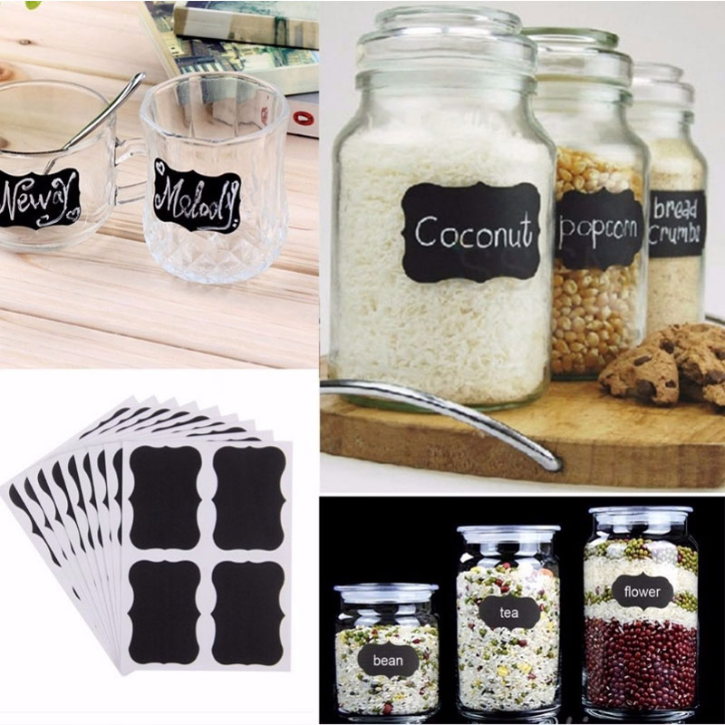 36pcs Glass Jar Bottle Sticker Kitchen Organizer Labels Chalkboard Blackboard Shape Tag Home DIY Chalk Board Sign Bottle Sticker