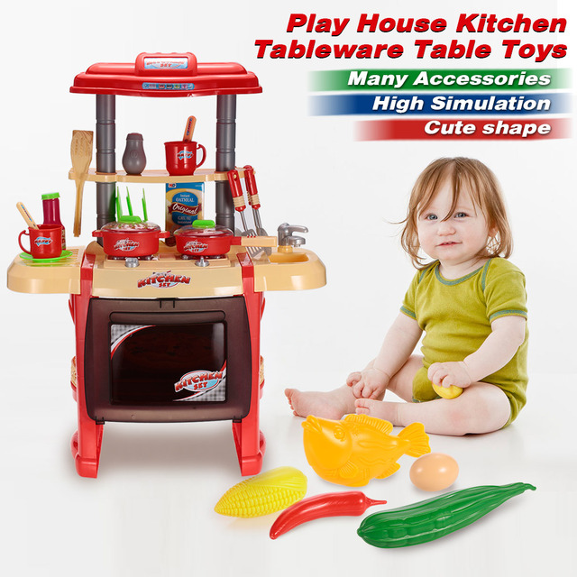 Kids Kitchen Toys Cabinets.com Creative Set Play House Kitchenware Dinner Table Cooking Tool Family Game Educational Equipment
