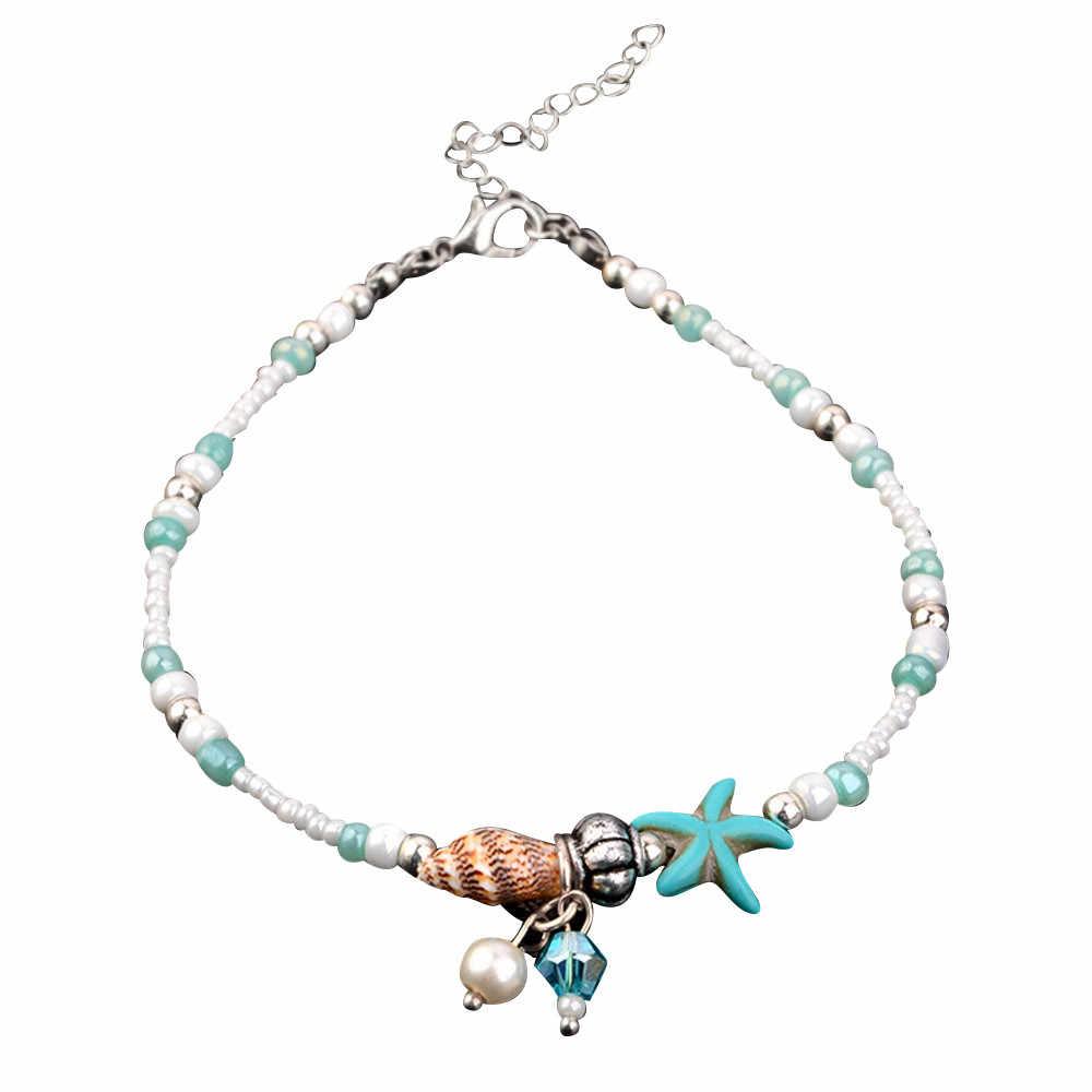 OTOKY Halhal 2019 YENI Moda Trendy Mavi Denizyıldızı Kabuk Halhal Yaz Plaj Conch Boncuk Halhal Kadın ayak takısı Için 19May27