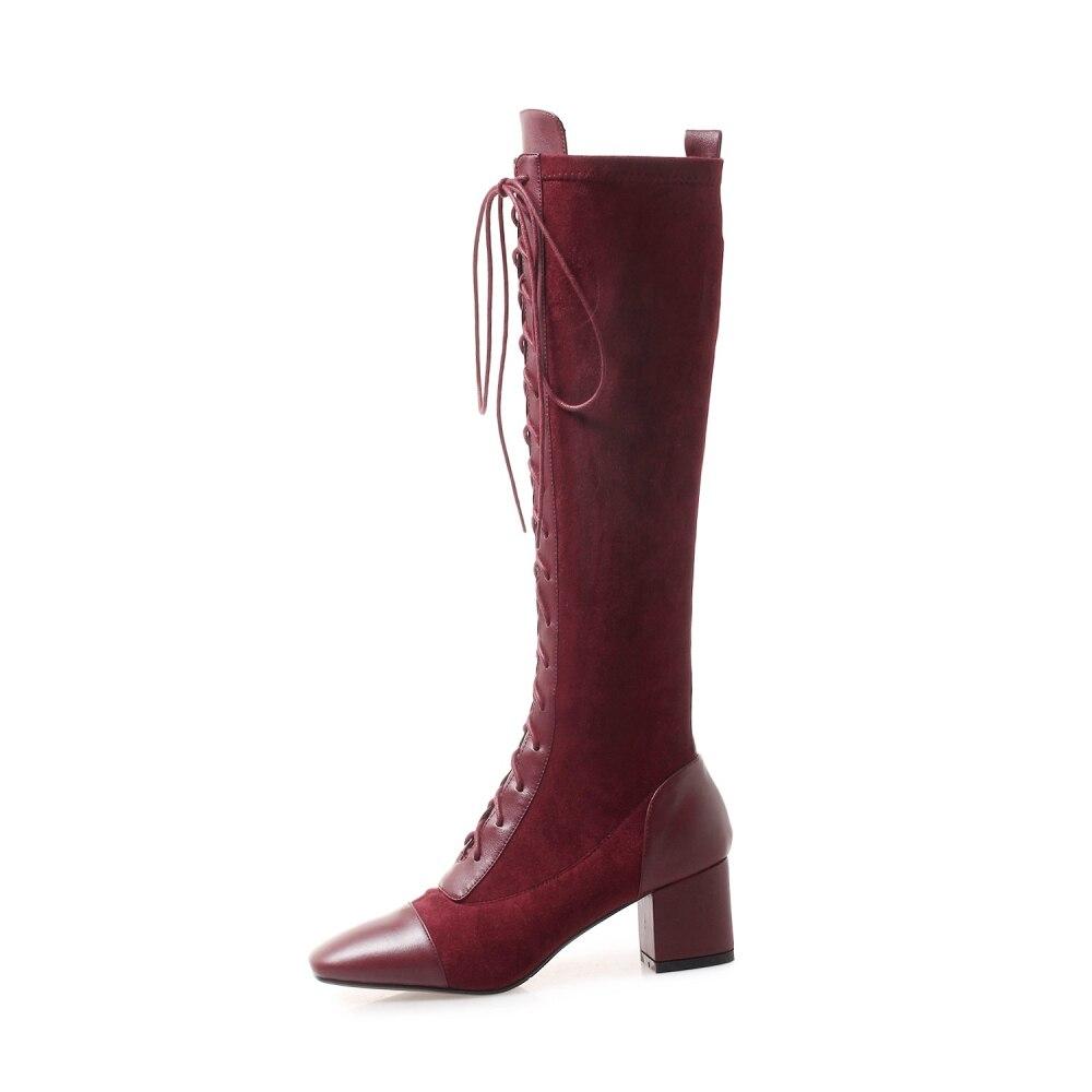 up À Lady Dentelle Bottes Luxe Stretch Femmes Chaussures Hauts Taille En La red Black Plus Cuir Sexy Tissu Genou Marque De Naturel Talons Élégant pxaP7w6vxq