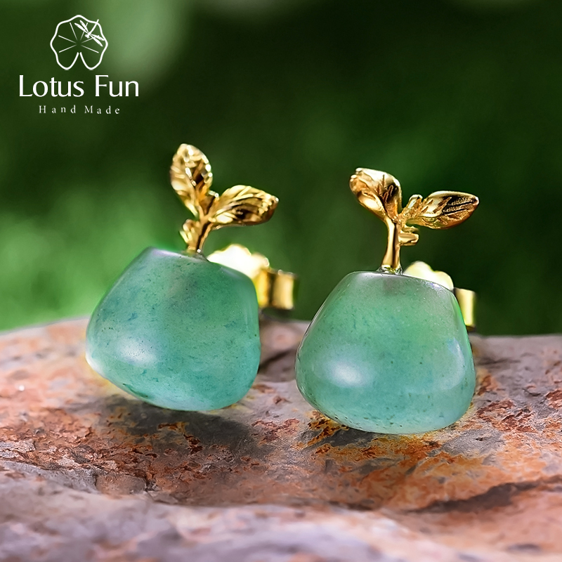 Lotus Fun Real 925 Sterling Silver Natural Aventurine Gemstone Creative Fine Jewelry Sprouting in Spring Stud Earrings for Women