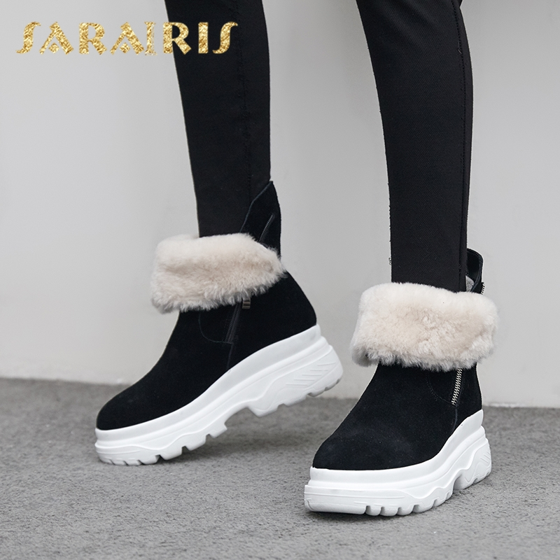 SARAIRIS new arrivals Fashion Cow Suede Russia Winter Warm Plush Snow Boots Woman Shoes Thick Fur mid-calf Boots Women Shoes цены онлайн