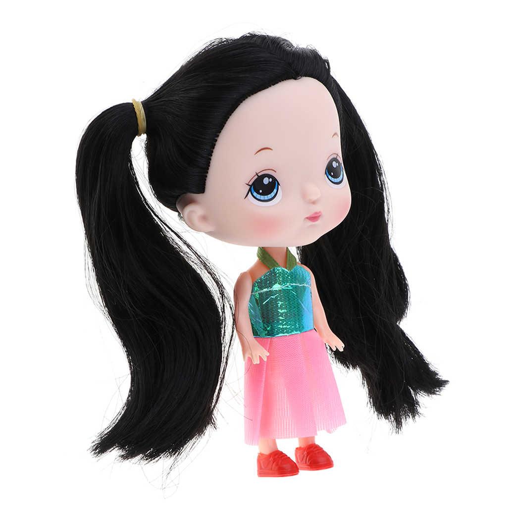 6 polegada Linda Princesa Boneca com Peruca de Cabelo Preto, Olhos Grandes para As Meninas DIY Fazer Acessórios