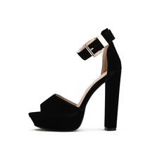 New arrived  high quality velvet Leather liner Sexy open toe Ultra Thick high heel sandals 5 color 36-42 wholesale and retail
