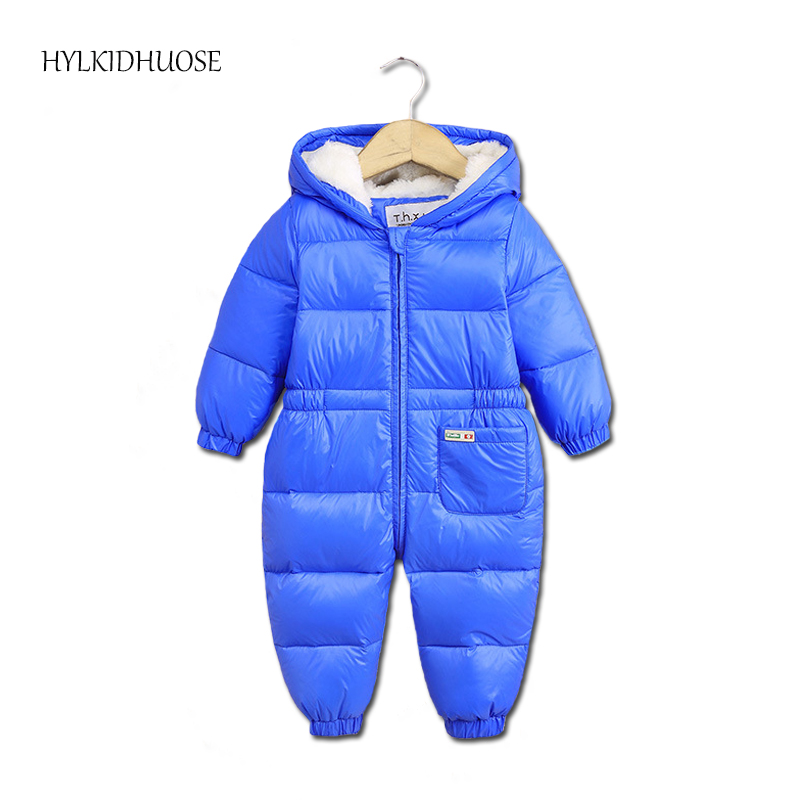 HYLKIDHUOSE 2017 Winter Infant/Newborn Rompers Baby Boys Girls White Duck Down Rompers Outdoor Warm Children Windproof Jumpsuits russia winter boys girls down jacket boy girl warm thick duck down