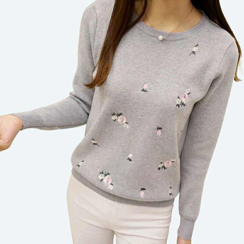 Suéter de otoño 2018 para mujer bordado de punto de invierno Jersey mono de cuello redondo Mujer suéter de punto de manga larga de mujer