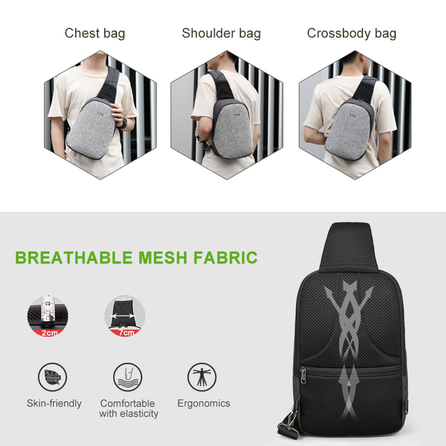 Fashion Men Male Bags Casual Splashproof Sling Bag 9.7 inch Crossbody Bags for Women Messenger Black Grey Men Shoulder Bag 5
