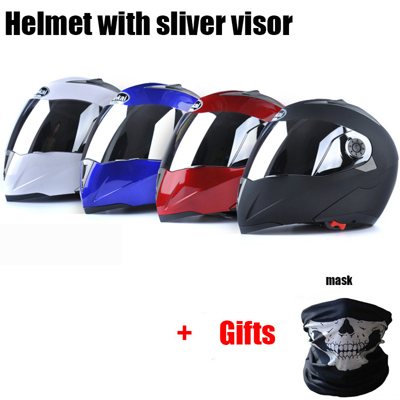 Jiekai Flip up Motorcycle Helmets Motor Mask Gifts Silver Lens Visor Men Women Motorbike Moto Bike