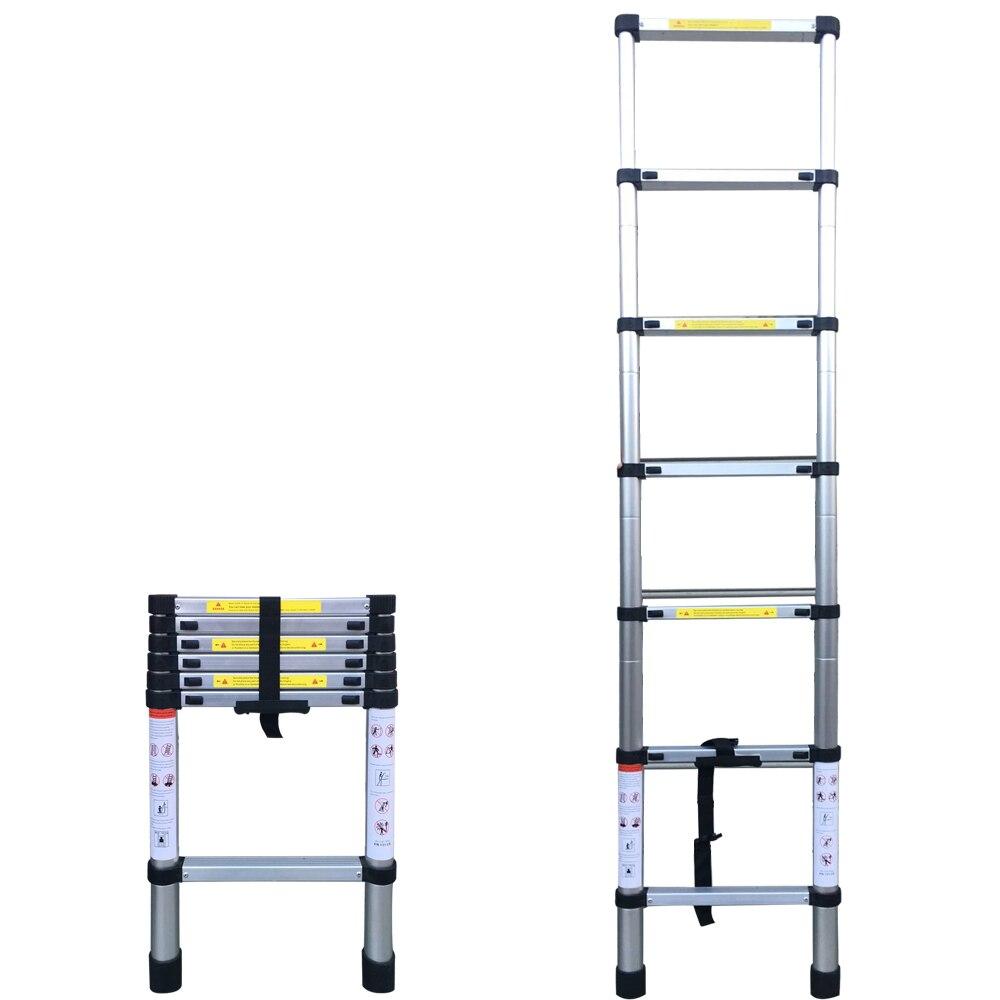 6.56FT(2m) Household Foldable Aluminium Alloy Ladder 7Steps Extension Ladders Extendable Telescoping Portable Ladder