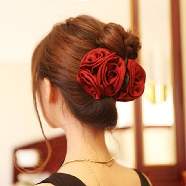 Korean Beauty Ribbon Rose Flower Bow Jaw Clip Barrette Hair Claws for Women Headwear Hair Accessories