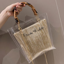 35& Transparent Bag Woman Trendy Clear Jelly Shoulder Bags Ladies Bamboo Weave Handbags For Party Clear Bag Purses And Handbags(China)