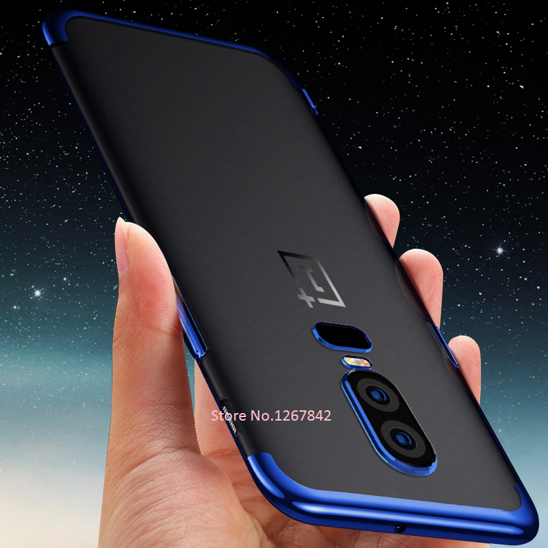 Transparent Soft TPU Silicone Case For <font><b>OnePlus</b></font> 6 6T 5 5T Plating Phone Cover Case For <font><b>OnePlus</b></font> 5T 6T <font><b>A6013</b></font> 6 A6000 A6003 5T A5000 image