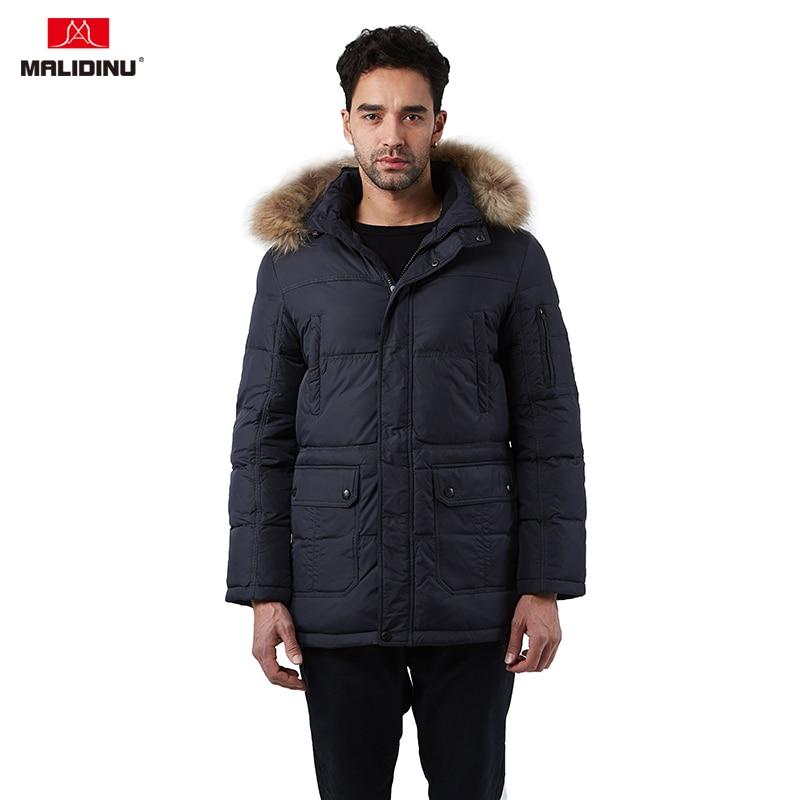 MALIDINU 2020 Men Down Jacket Men Winter Down Coat Hooded Down Parka Real Fur Brand Winter Coat Russian Jacket Big Size -30C